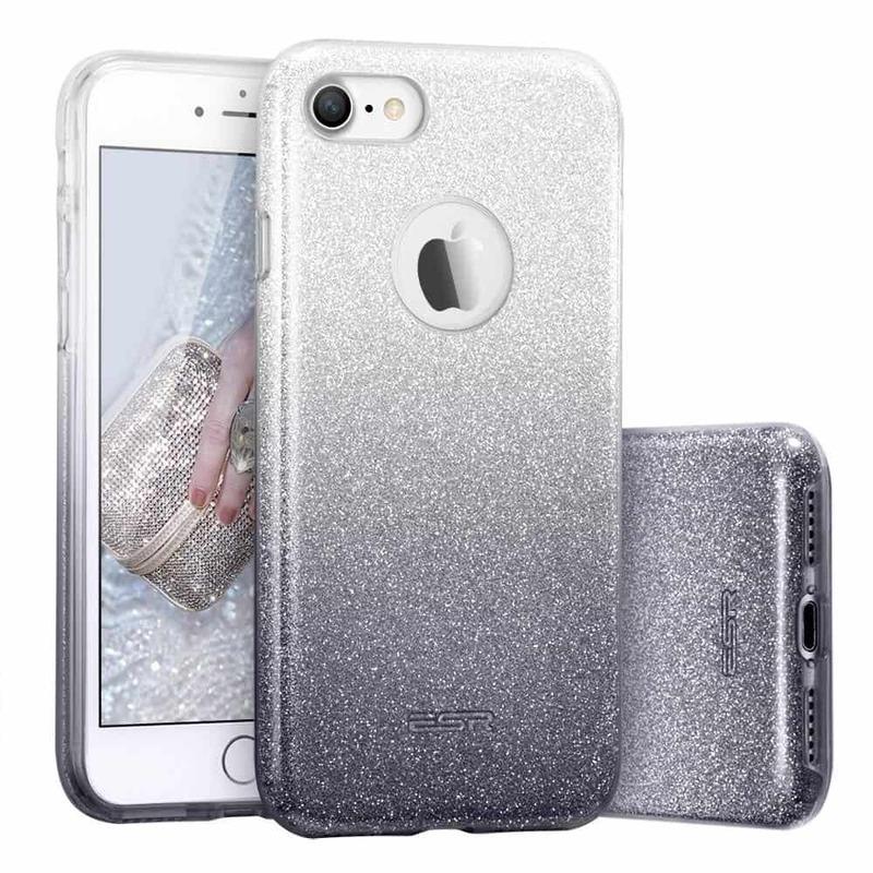 iPhone 7 Makeup Glitter Case-ombre-black