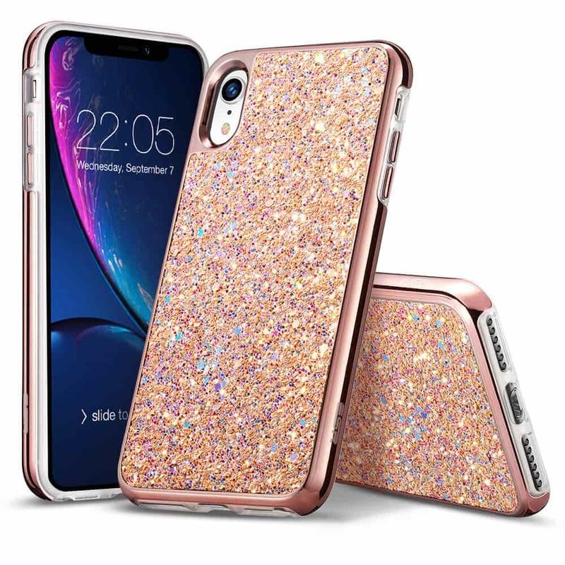 iPhone XR Glitter Hard Case peach