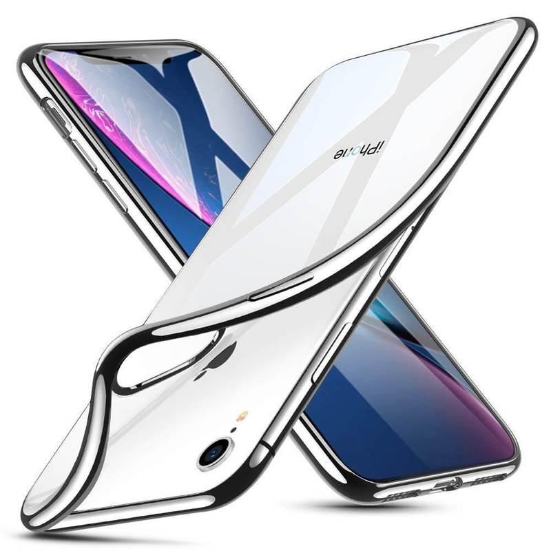 iPhone XR Slim Clear Soft TPU Case silver frame