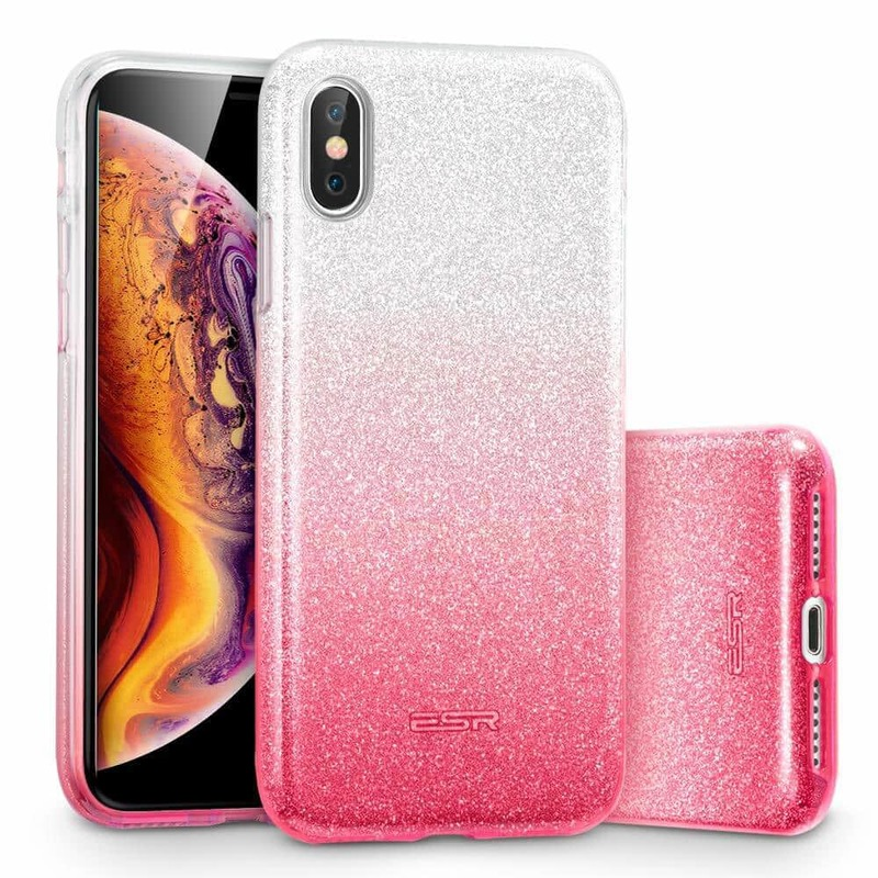 iPhone XS Max Makeup Glitter Case-ombre-pink