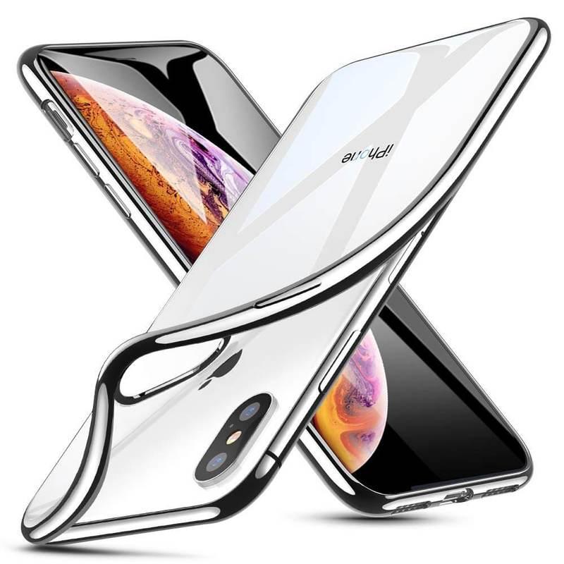 iPhone XS Max Slim Clear Soft TPU Case silver frame